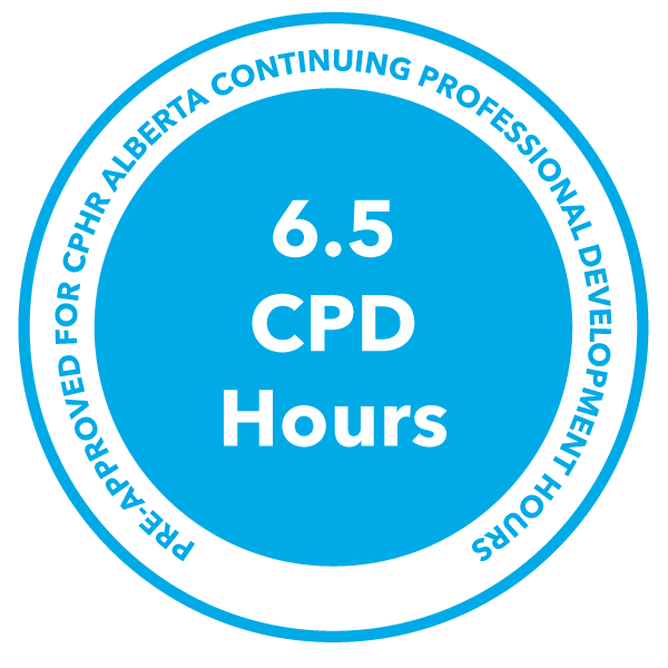 CPHR graphic showing 6.5 CPD hours can be earned with each workshop.